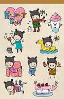 icon set related to happy day