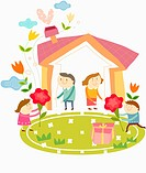 illustration of kids playing around a house
