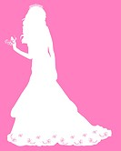 White silhouette of a bride