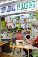 Singapore, Little India, Serangoon Road, Tekka Food Centre & and Market, marketplace, shopping, Asian, man, woman, tailor, sewing machine, small famil...