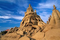 work of the American sculptor John Gowdy, World Championship in Sand Sculpture, Hardelot, Pas-de-Calais department, Nord-Pas-de-Calais region, France,...