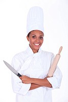 Chef with a rolling pin and knife