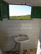 Spain, La Gomera, Ruined bathroom of old airport