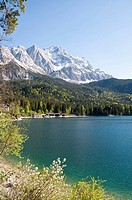 Germany, Bavaria, View of Lake Eibsee with Zugspitze mountain in background