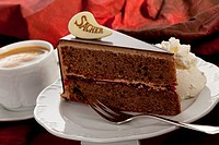 Slice of Sachertorte with coffee cup, close up