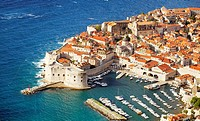 Croatia - aerial view of Dubrovnik, Old Town harbor, Dalmatia, Croatia, UNESCO