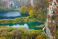 Croatia - autumn landscape of natural lakes and cascades in Plitvice Lakes National Park, Plitvice, Croatia, UNESCO