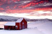 Cottage in Kvaloyvagen, a fishing village near Tromso, in norwegian fjords.
