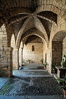 Cloister of the church of Santa Maria (XIth Century), Ainsa, Huesca, Spain