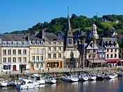 The Old Dock with pleasure boats moored, and Saint Etienne quay and church in the background), Honfleur, Auge region, normandy, France