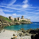'Fort La Latte' castle 13th Century and cove Brittany France