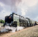 Historic steam locomotive 'Pacific PLM 231 K 8' of 'Paimpol-Pontrieux' train Brittany France