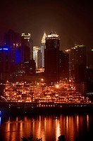 China, Sichuan, Skyline At Night; Chongqing