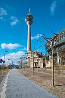 Bicycle paths going past Rheinturm tower Dusseldorf city North Rhine Westphalia region western Germany Europe
