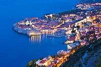 Dubrovnik Old Town at night, taken from Zarkovica Hill, Dalmatian Coast, Adriatic, Croatia, Europe