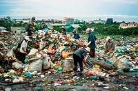 Cambodia, People Looking Through Dumped Trash At Dump Site; Phnom Penh