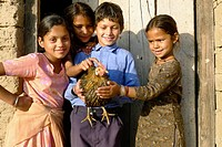 Local Kids Holding A Chicken, Bir, Himachal Pradesh, India