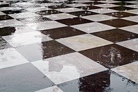 Raindrops On A Marble Black And White Tile Floor, Delhi, Uttar Pradesh, India