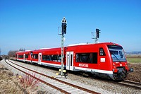 Local train of Deutsche Bahn AG to an electrical signal