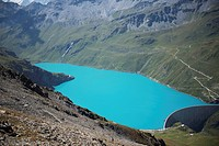 Switzerland, Val d'Anniviers, Lac de Moiry from the Col de Sorebois; Zinal