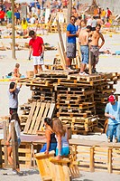 Preparations for the Night of San Juan on the beaches of A Coru&#241;a Galicia, Spain, Europe