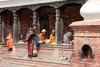 Pashupatinath, Nepal. Sadhus, Hindu Ascetics or Holy Men, Rest inside a Pati, an Open-Air Resting Place