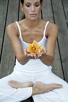 Woman doing yoga - Padmasana Lotus Pose