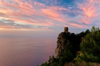Watchtower Mirador de Ses Animes at dusk, Majorca, Balearic Islands, Spain, Europe