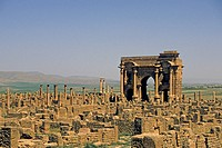 algeria, West Gate Roman site of Timgad UNESCO World Heritage Site Algeria