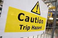 Caution Trip Hazard Sign on Construction Site