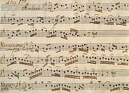 Score for the first Divertimento a 3 from Baryton Trios, by Franz Joseph Haydn (1732-1809).  Budapest, Szechenyi Nemzeti Konyvtar