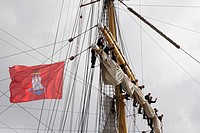 The trainig sailing ship Gorch Fock at the 824. Hamburg harbour festival with Harbour Hambrg Flag