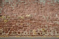 Wall of a church, Heldenbergen, Hesse, Germany, Europe