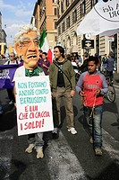 anti silvio berlusconi, no b day demonstration in rome italy