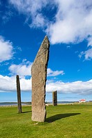 Scotland, Orkney Islands, Standing Stones of Stenness. The Standing Stones of Stenness, a Neolithic stone circle monument on the mainland of Orkney, S...