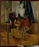 Still Life with Palette. Osmiorkin, Alexander Alexandrovich (1892-1953). Oil on canvas. Russian avant-garde. 1920. Russia. State Art Museum, Tula. 108...