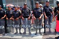 Peru, Lima, San Isidro, Avenida Canaval y Moreyra, street scene, protest, demonstration, Petroperu, Petróleos del Perú, Indigenous Communities Protest...