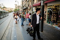 People standing at Jaffa street, Jerusalem, Israel.