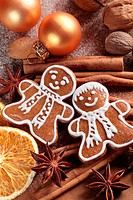 Christmas gingerbread man and spices.