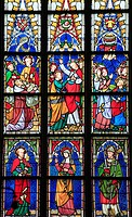 Belgium, Antwerp, Cathedral, stained glass window,.