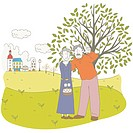 Old Couple Standing Near A Tree