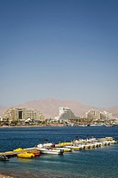 View over the red sea, beach and hotels in Eilat, Israel.