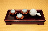 Korean traditional tea cups and teapot