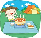 a kid cooking on camping