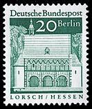 Carolingian gatehall, Lorsch, Hesse, postage stamp, Germany, 1966
