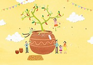 illustration of people in autumn festival