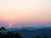 Sunset in the mountains, Doi Tung, Chiang rai, Thailand.