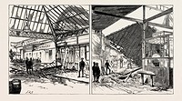 THE DISASTROUS EXPLOSION AT VICTORIA STATION LONDON: EXTERIOR VIEW SHOWING THE DAMAGE TO THE STATION OF THE BRIGHTON LINE (LEFT IMAGE) THE WRECKED CLO...