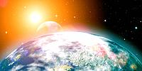 Rising sun over the planet Earth, abstract backgrounds. No NASA imagery used.