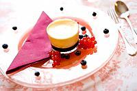 Crème caramel in a glass